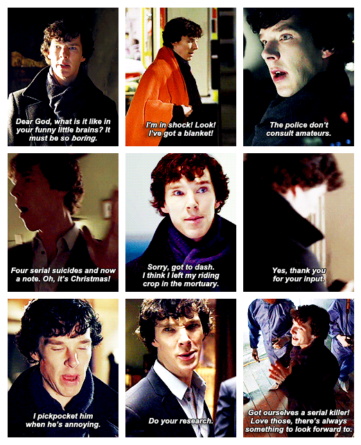 A Study In Pink Sherlock Holmes Hahaha This Show Is Just Amazing D These Are Some Of My Favorite Sherlock Holmes Bbc Sherlock Funny Benedict Sherlock