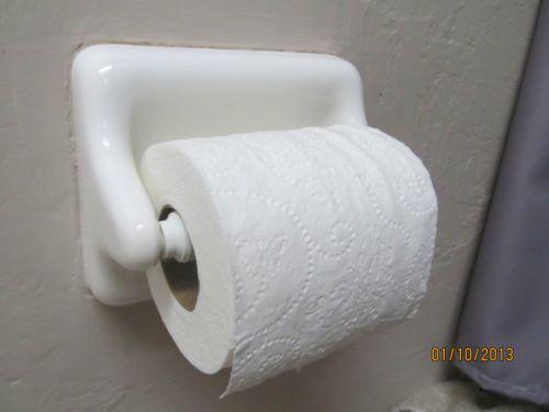 White Ceramic Or Porcelain Toilet Paper Roll Holder Toilet Paper