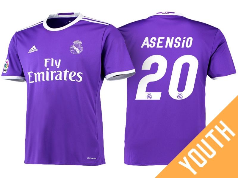 best website b558d b7d00 Real Madrid #20 Marco Asensio 2016-17 Road Jersey - Youth ...