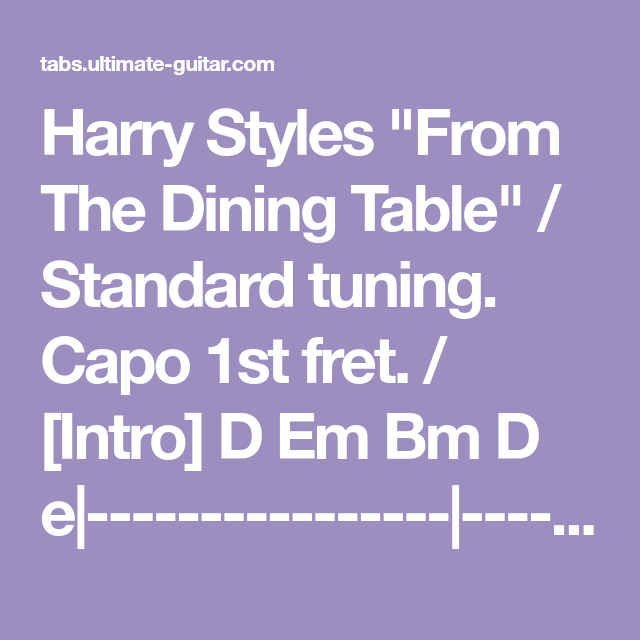 Harry Styles From The Dining Table Chords With Images