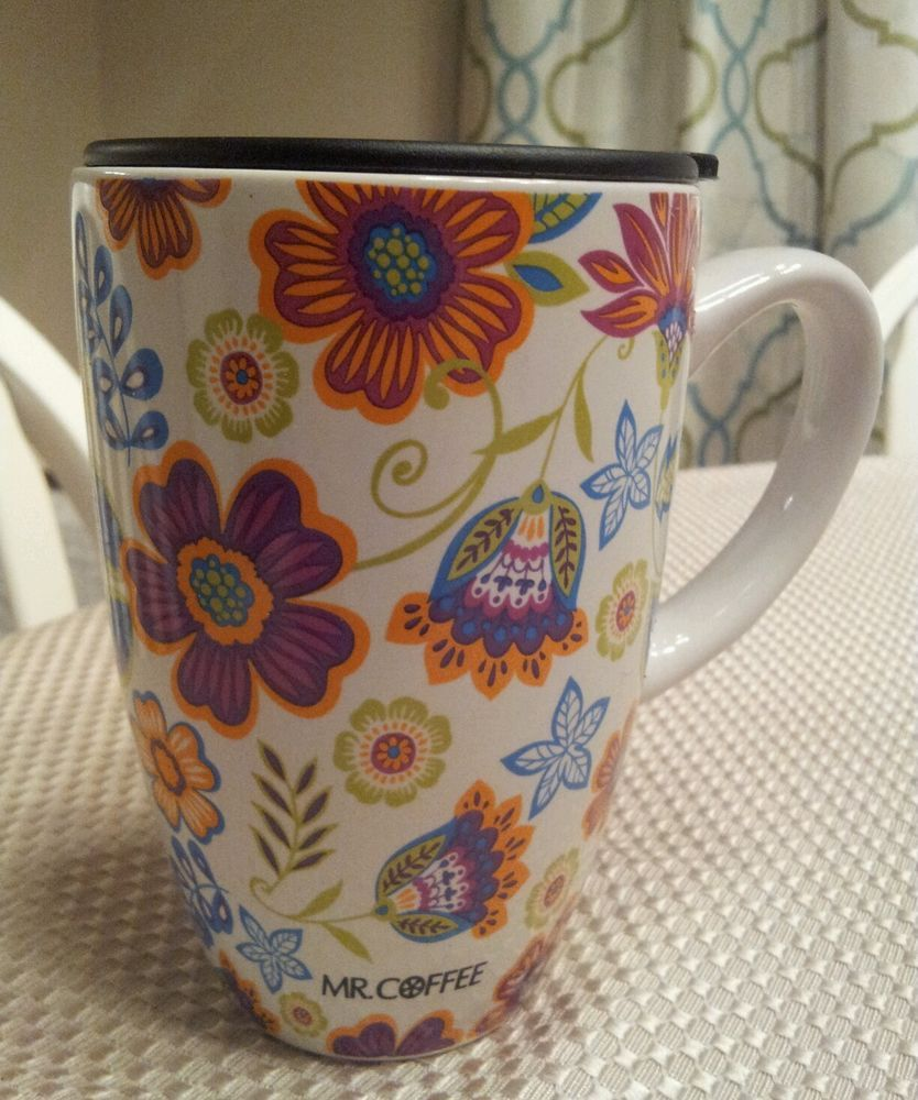 Mr Coffee Ceramic Travel Coffee Cup Mug Spring Flowers Fun Floral Holds 17 Oz Mugs Travel Coffee Cup Mr Coffee