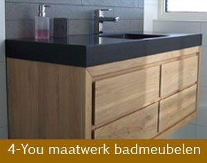 Mooie Badkamermeubel Lades : Houten badmeubel met breed zwart blad en 4 laden u003e mooi maar met