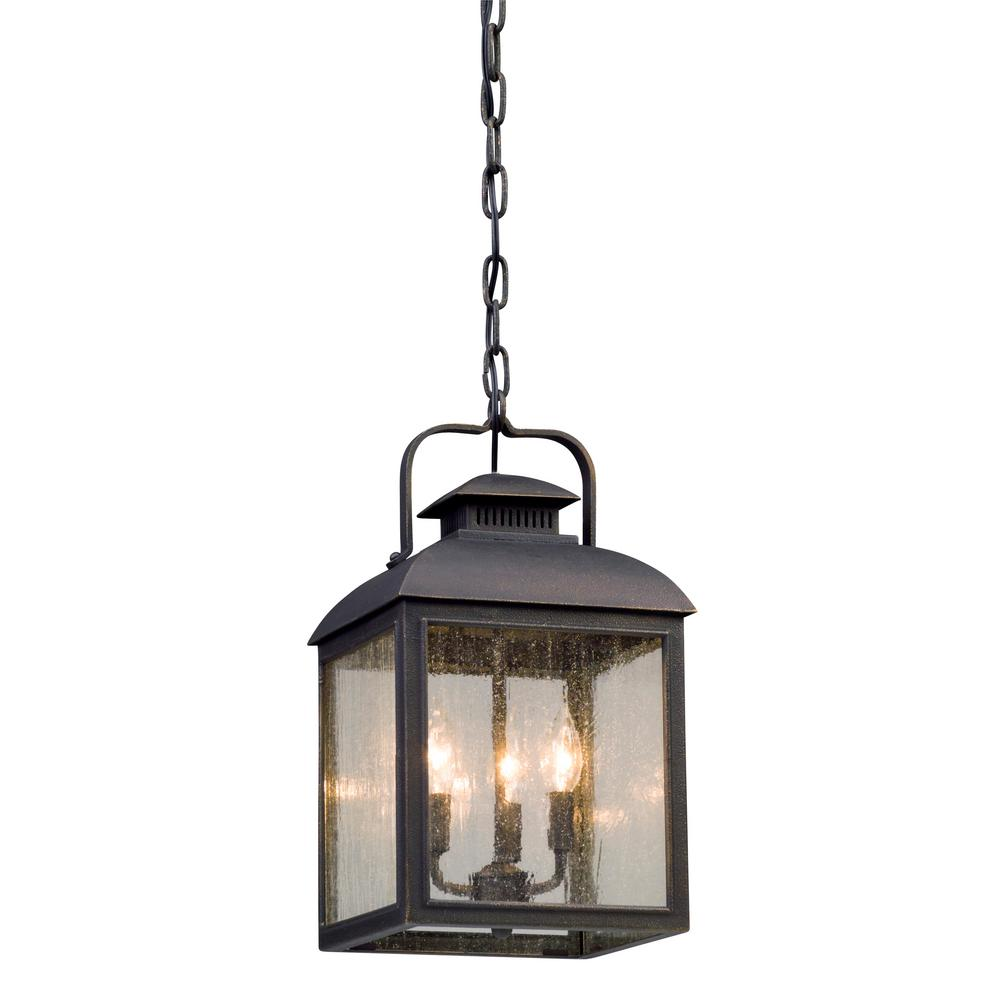Troy Lighting Chamberlain 3 Light Vintage Bronze Outdoor Pendant F5087 The Home Depot In 2020 Outdoor Hanging Lights Outdoor Pendant Outdoor Hanging Lanterns