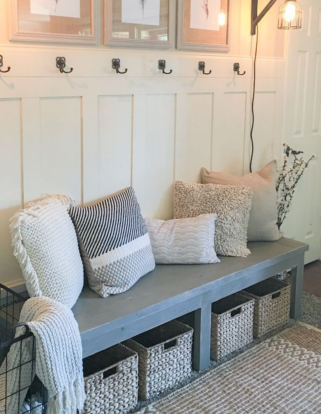 75 Farmhouse Entryway Decorating Ideas # Banc De Ferme Dossier