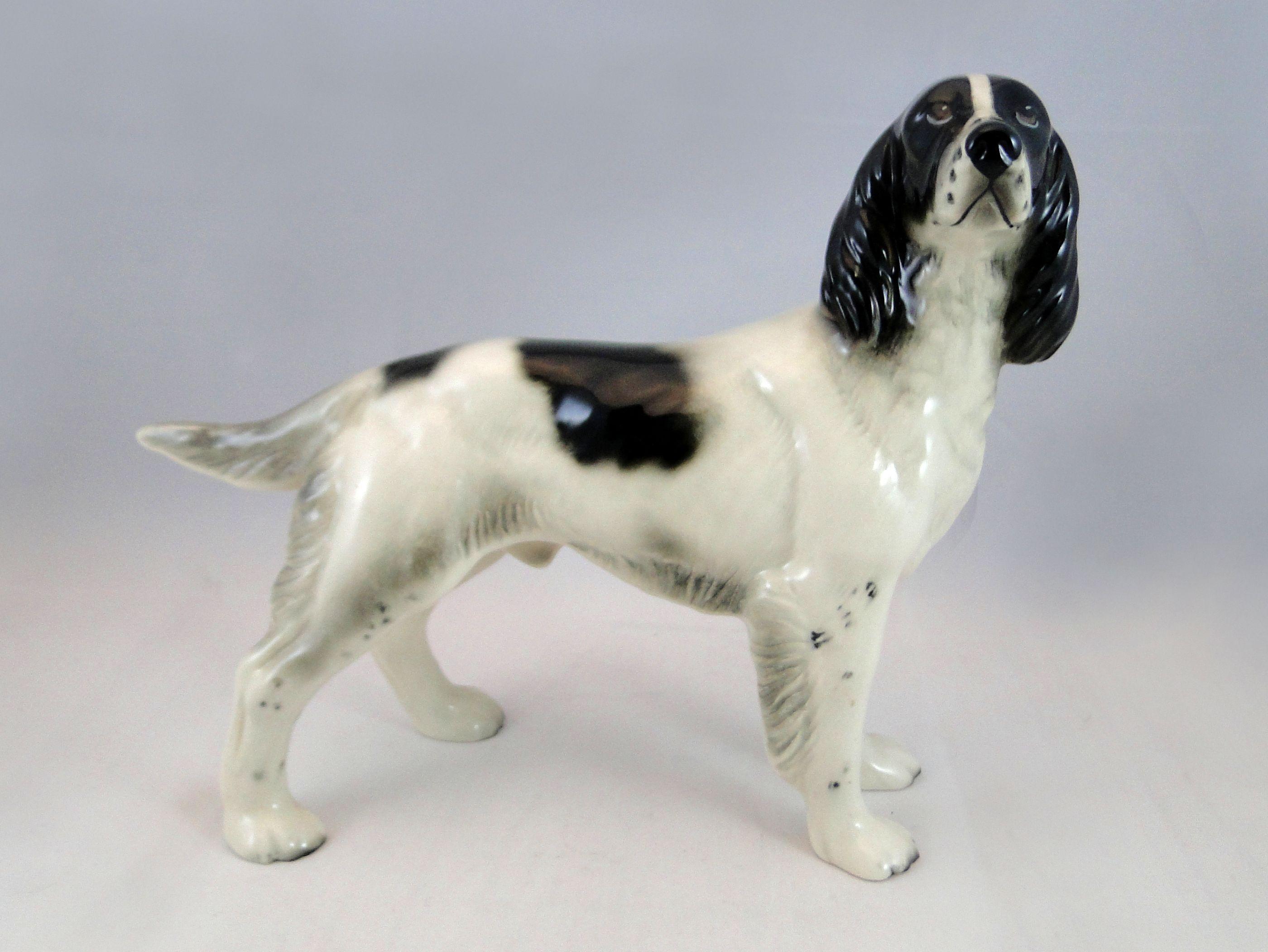 284 Vintage Ceramic Figure Of A Standing Springer Spaniel 18cms Tall Est 15 25 Porcelain Dog Spaniel Animals
