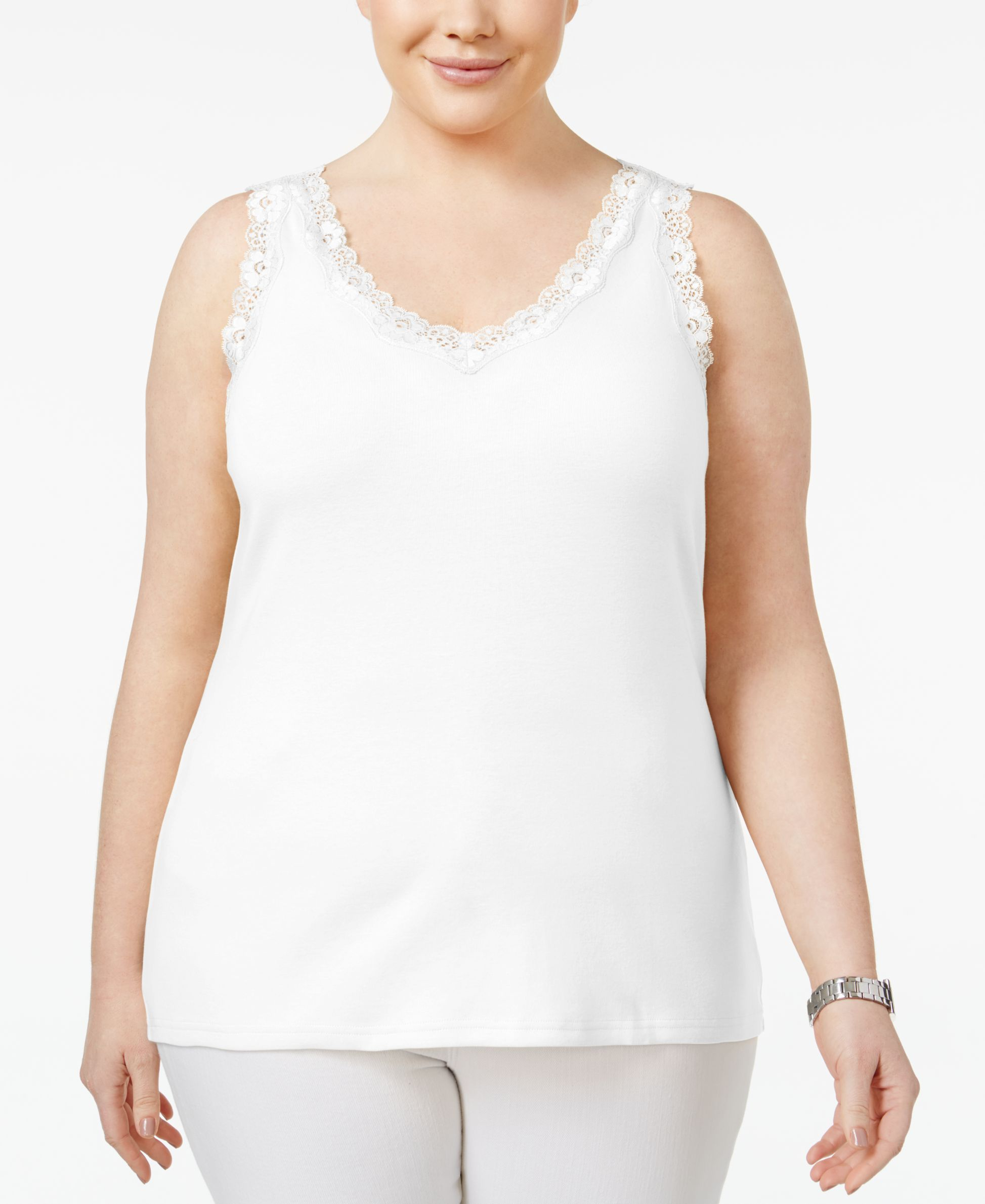 525a422355f6f Karen Scott Plus Size Cotton Lace-Trim Tank