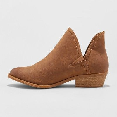 a1729c0c34d Women s Nora V-Cut Ankle Wide Width Booties - Universal Thread Cognac (Red)  10W