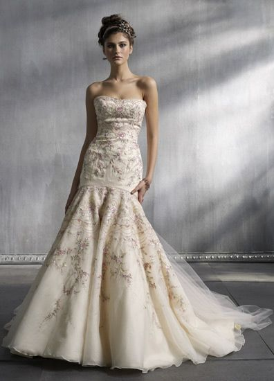 Pink embroidered lazaro wedding dress say yes to the for Where to buy lazaro wedding dresses