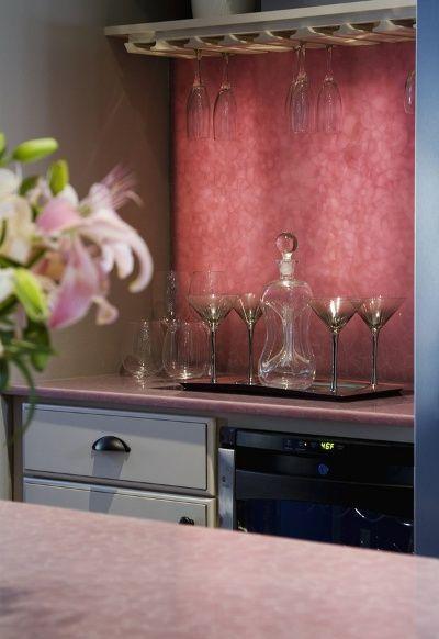 Rose Quartz Kitchen Counters Rose Quartz Slab Backsplash Black Appliances Kitchen Kitchen Cousins Pink Kitchen