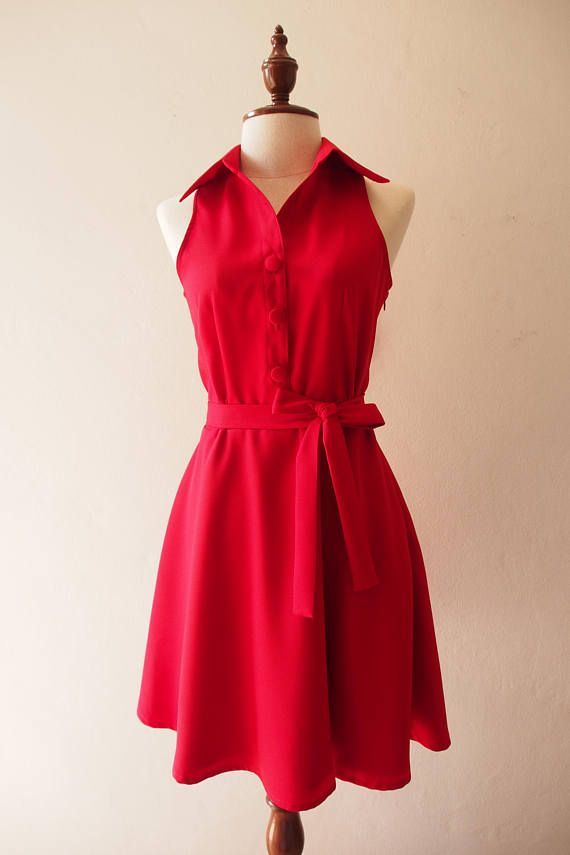 0ac6ae4dbe5 DOWNTOWN Scarlet Red Dress Red Swing Dance Dress La La Land Red Dress Casual