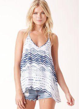 BLUE LIFE BOHO NAUTICAL V NECK CAMI clothing tops