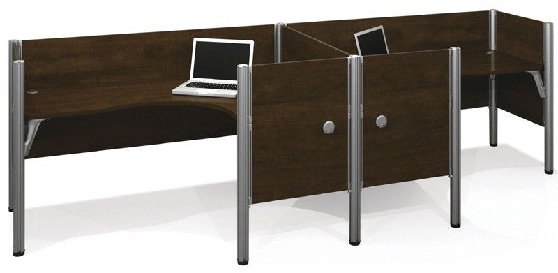 Bestar   Pro Biz Chocolate Double Side By Side Partition L Desk