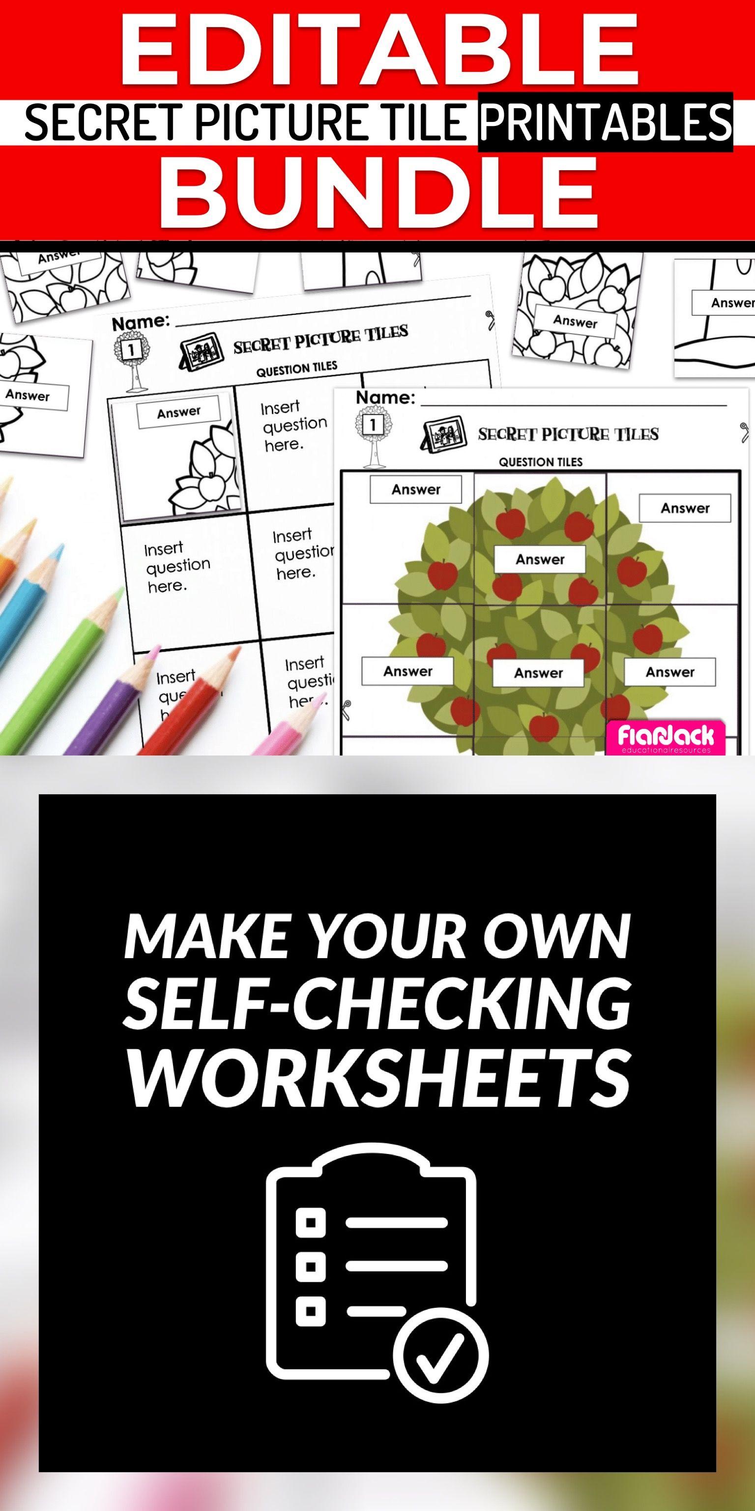 Editable Secret Picture Tile Printables Growing Bundle