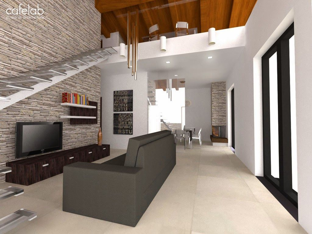 Disposizione soggiorno con scala interna per secondo piano for Piani di casa rustici con soppalco