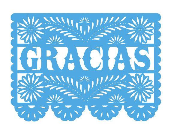 CUSTOM Papel Picado Wedding Thank You Postcard By Calaverapress1