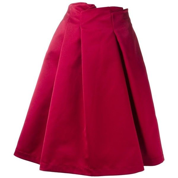Jil Sander Navy woven pleated skirt (29.660 RUB) ❤ liked on Polyvore featuring skirts, red, knee length pleated skirt, red pleated skirt, pink skirt, jil sander navy and red skirt