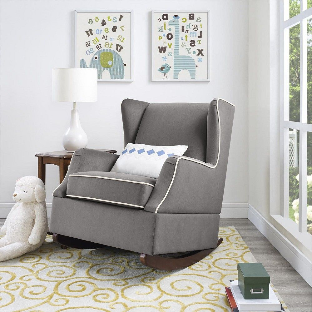 Comfortable bedroom chair - Comfortable Bedroom Chair Baby Relax Hudson Wingback Rocking Chair Graphite Grey