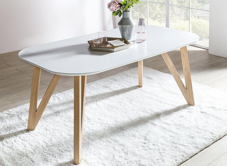 Küchentisch, Esstisch mattweiß, 140 x 90 cm, furnierter