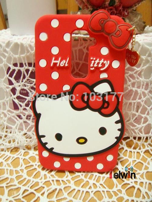 reputable site bae60 b4264 New Hot Cartoon 3D Hello Kitty Cat Silicone Case Cover For LG G2 ...