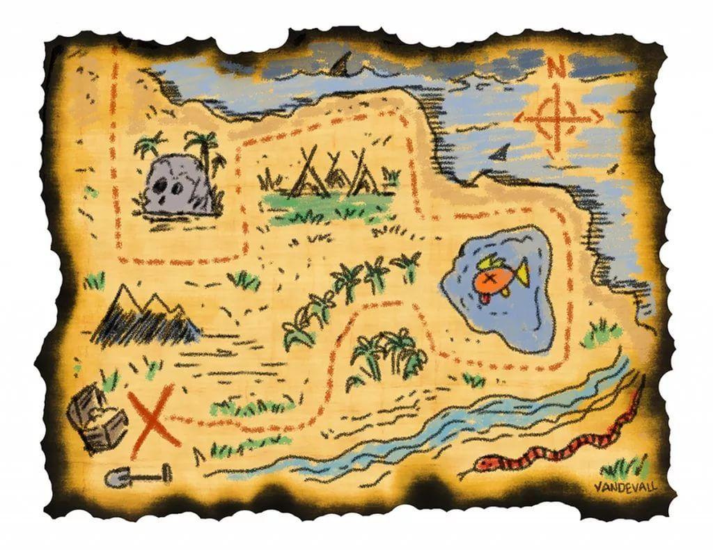 Карта для игры в пиратов картинка распечатать