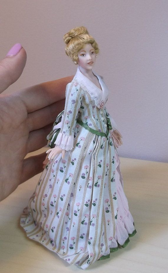 1:12 scale Miniature Doll Art Tutorial By DANA Pattern//Clothes//Hair VICTORIA