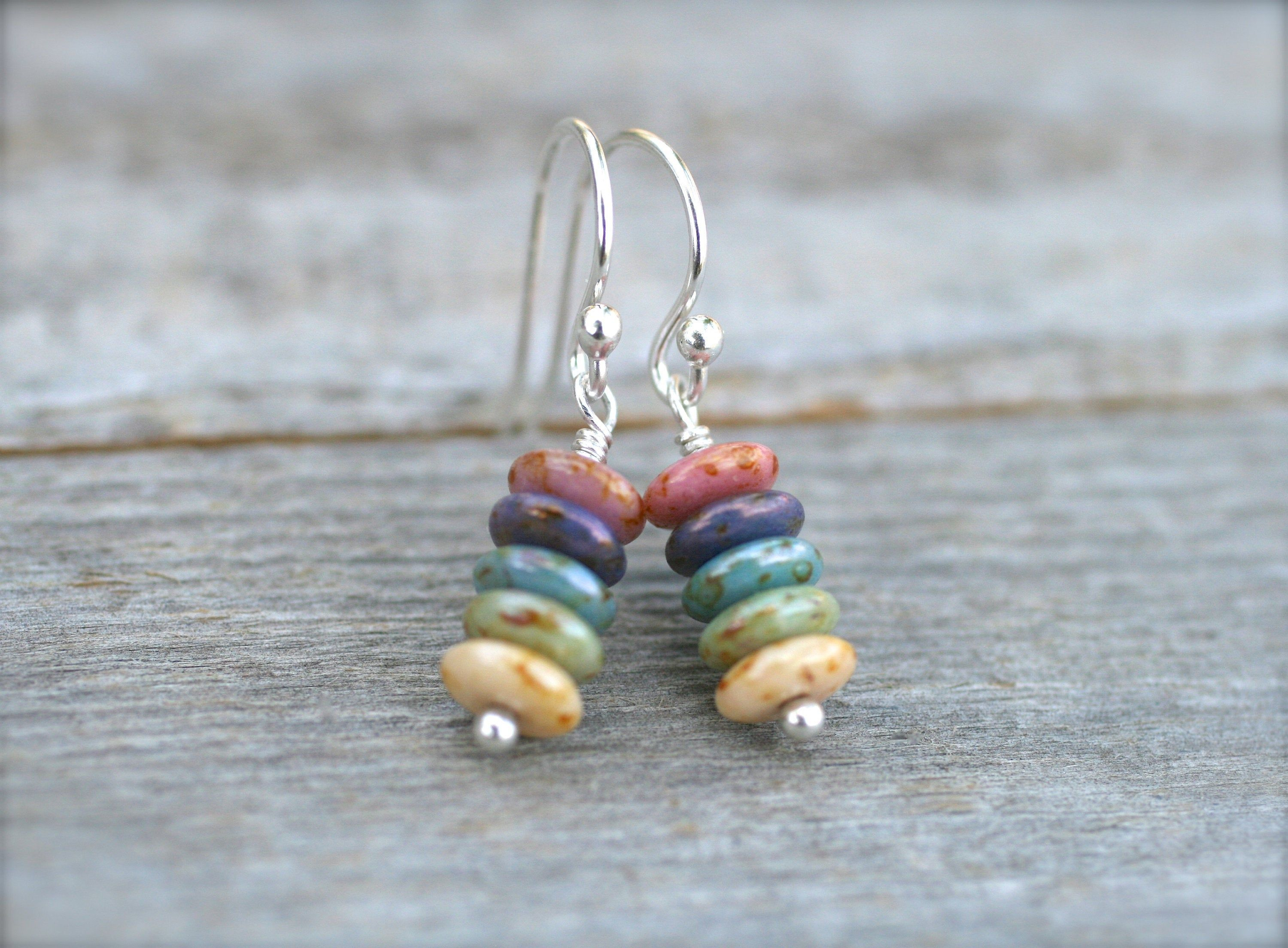 Unique Handmade Sterling Silver Earrings with Multicolored Czech Glass Beads