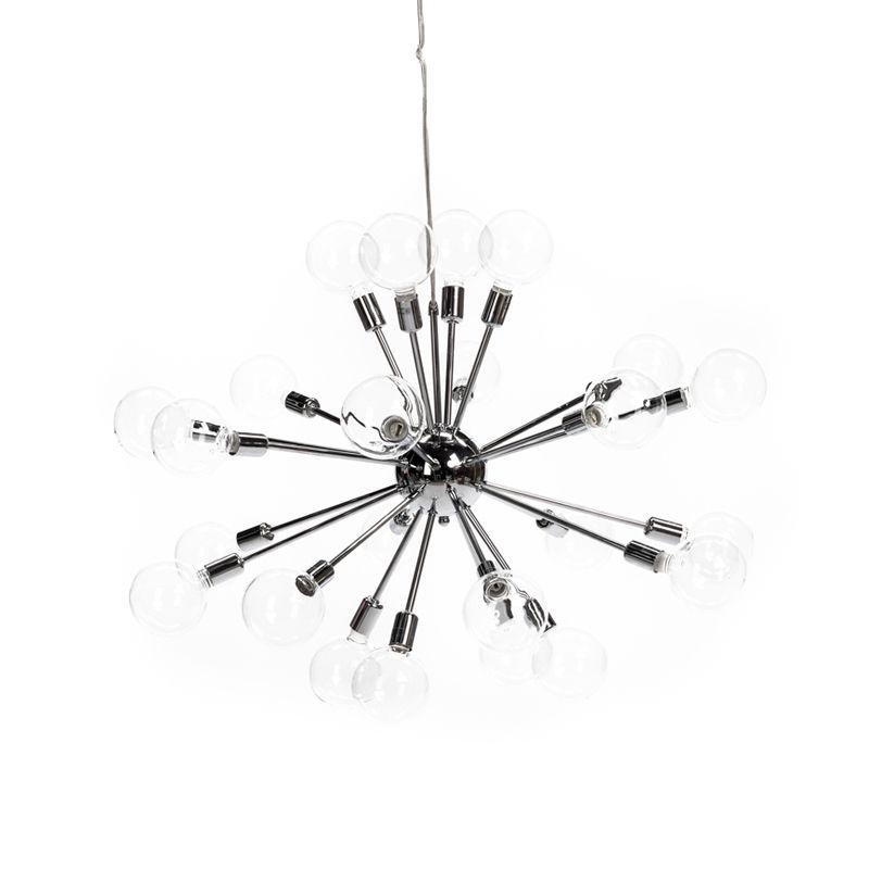 24-arm Sputnik pendant with glass balls. Materials : Chrome / Transparent 24 x 40W G9 halogen light bulbs
