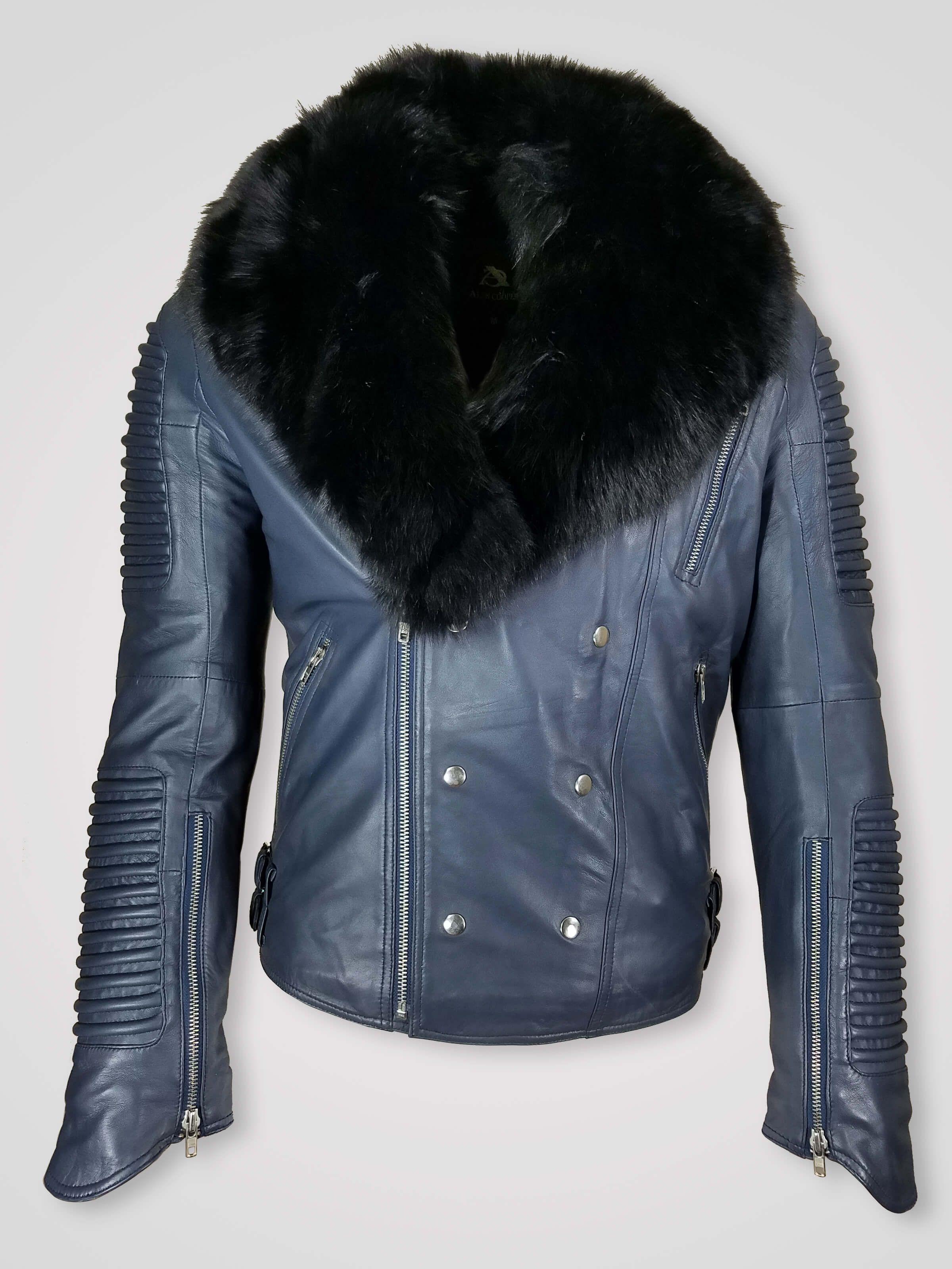 Men's motorcycle biker jacket with detachable fox fur