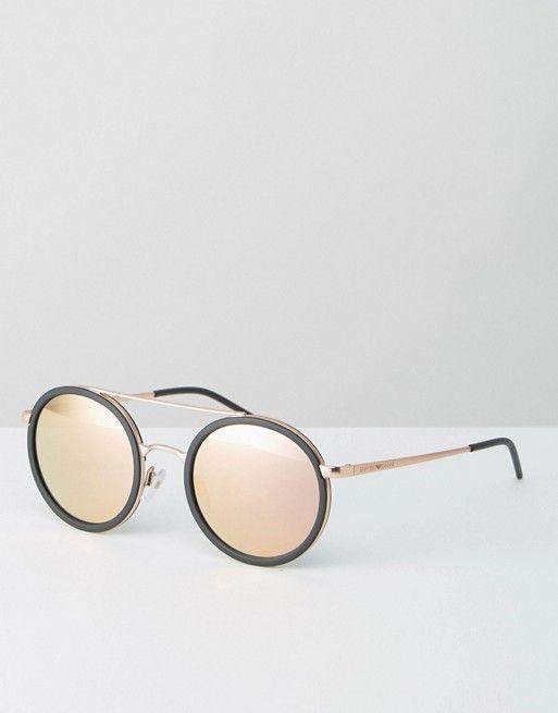 8e89bde29c05 Emporio Armani | Emporio Armani Round Sunglasses with Brow Bar and Rose Gold  Lens