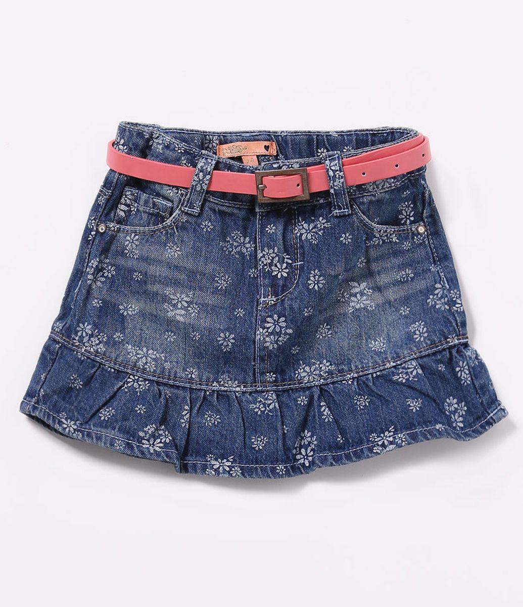 Vestido jeans infantil de babado