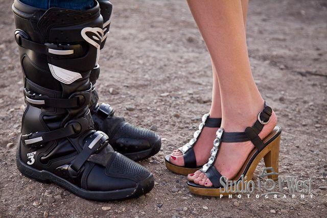 Motocross meets uptown girl.  San Luis Obispo Engagement Portrait Photographer