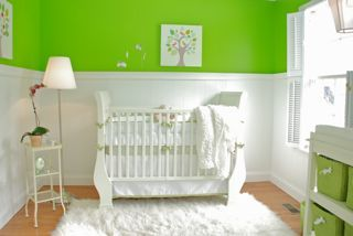 Baby S Nursery With Lime Green And White Walls Decor