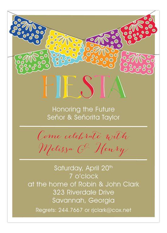 Swag Banner Fiesta Invitations on Gold Fiestas Fiesta invitations