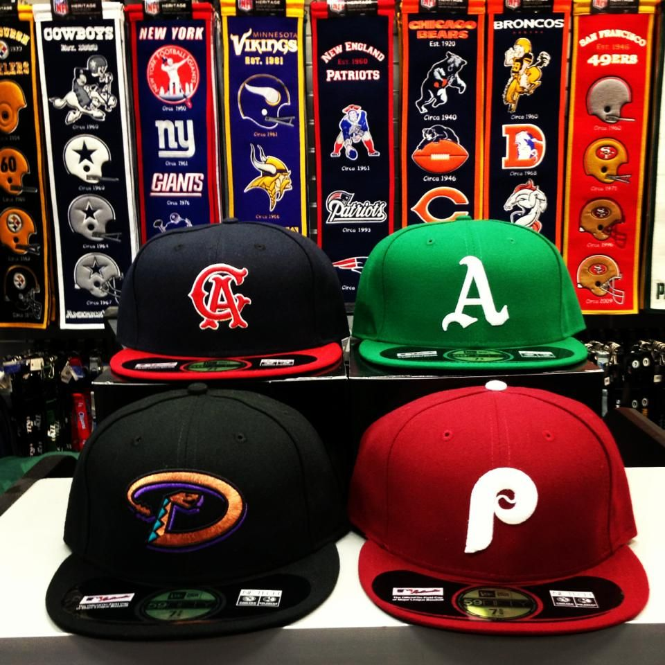 Mlb Cooperstown Throwback Fitted Hats Mlb Angels Athletics Phillies Diamondbacks Newera Retro Ny Giants Fitted Hats Hats