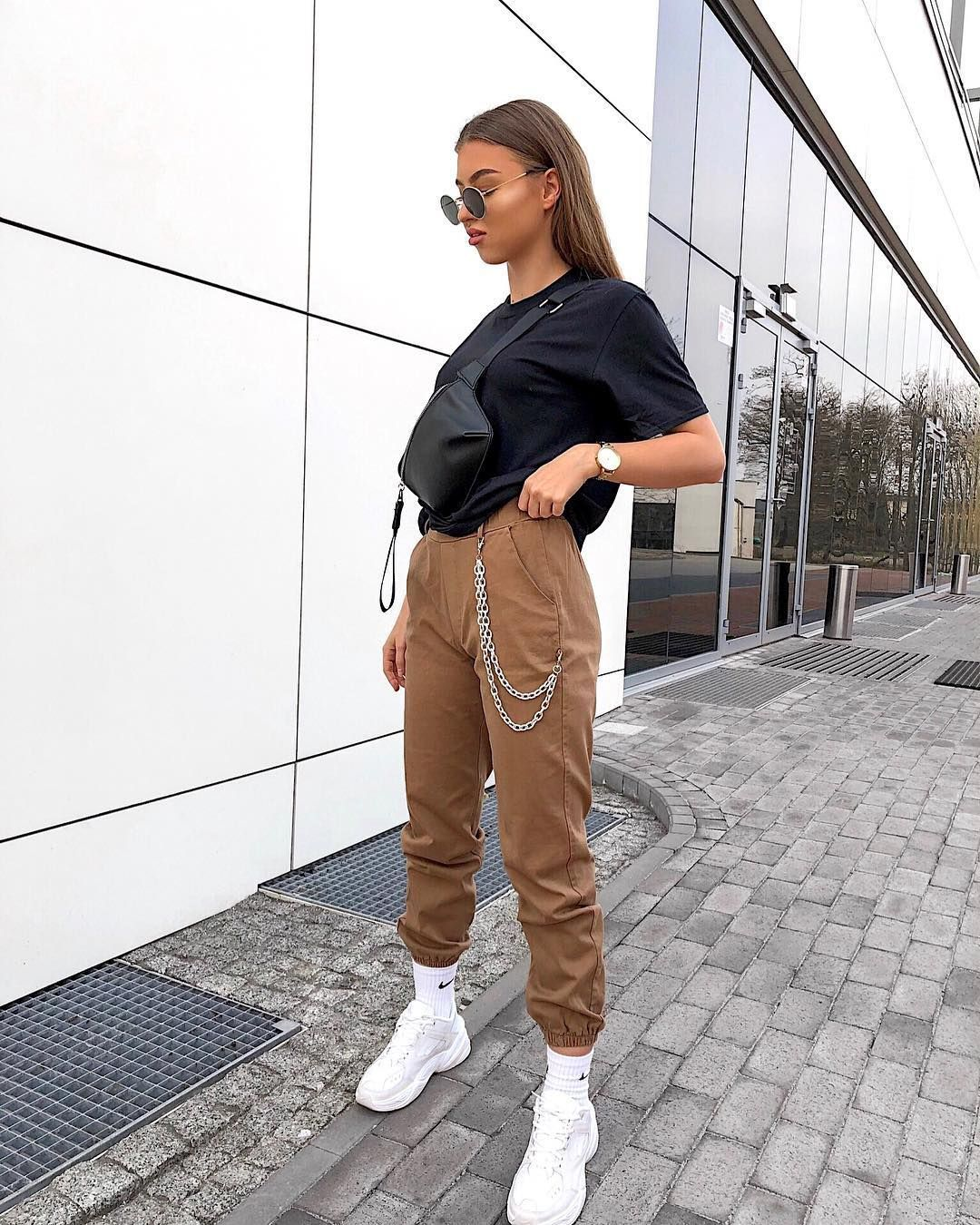 Photo of Chain Jogger Trousers Camel Brown