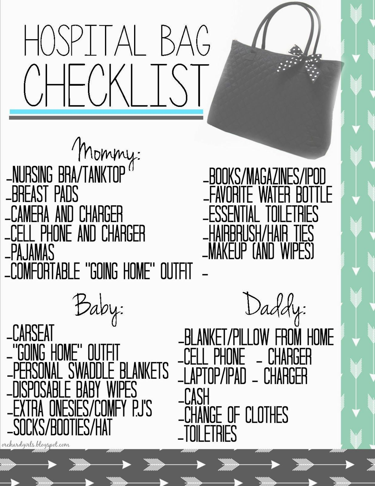 free hospital bag checklist printable - Baby Room Checklist