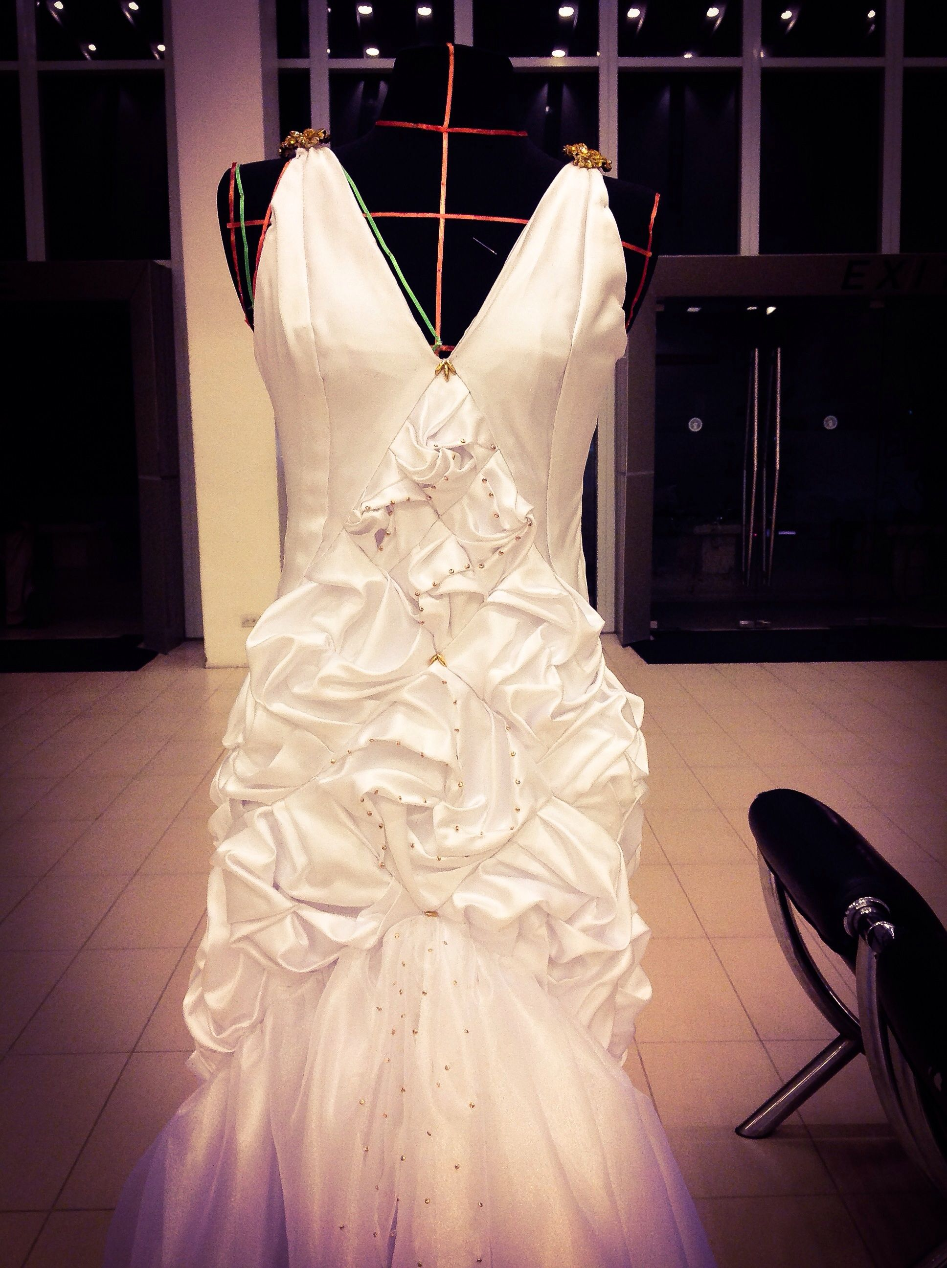 Gold white wedding dress  White gown with gold embellishment  Womenswear Designed by