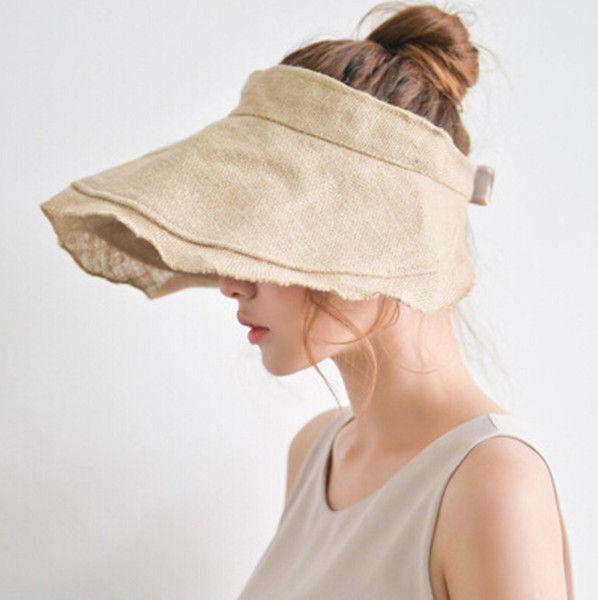 6edafc958 Flouncing linen sun visor hat for women wide brim sun hats UV ...
