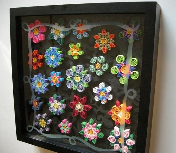 Quilled Flowers Paper Art in Glass Etched Shadow Box