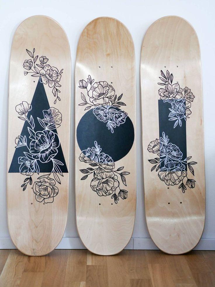 Skateboard Wall Decoration Linedrawing Flowers Handmade Skateboard Deck Art Skateboard Art Design Skateboard Wall Art