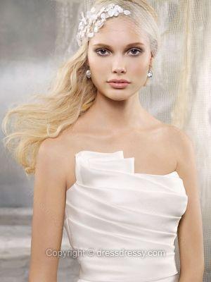 Trumpet/Mermaid Strapless Satin Organza Chapel Train Flowers White Wedding Dresses