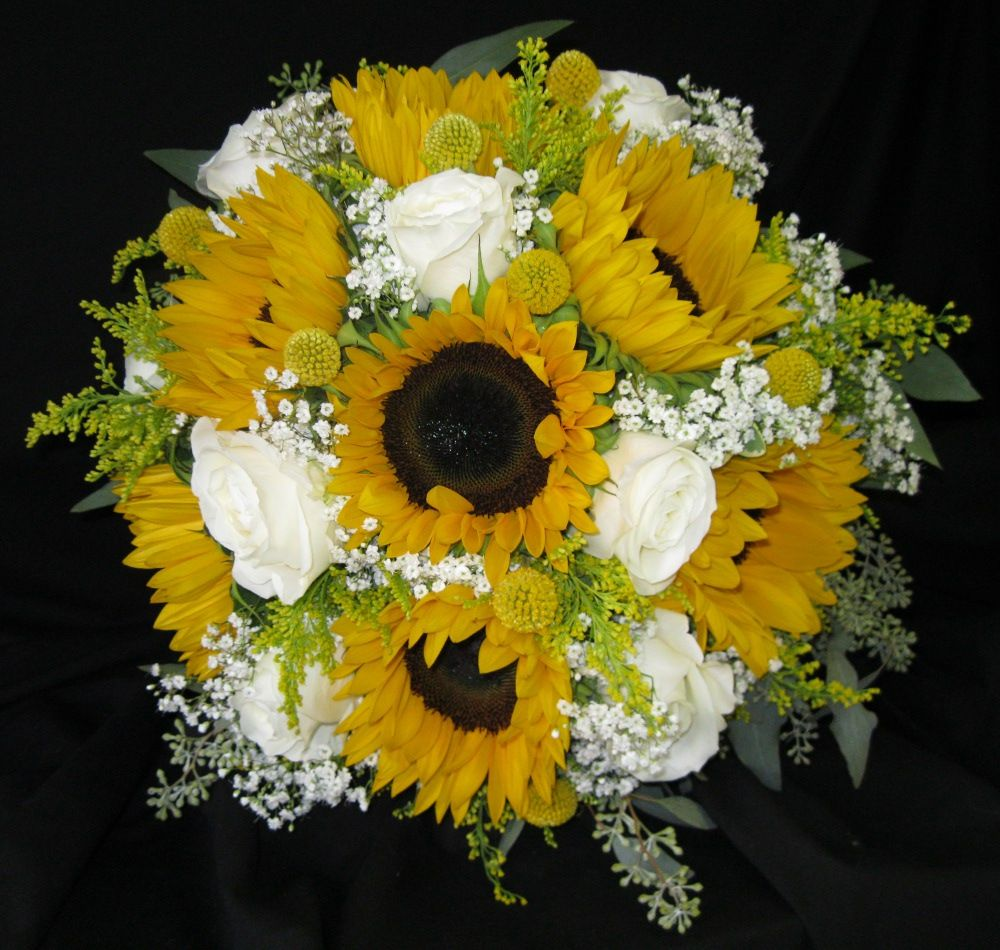 Hand Tied Bouquet Created With Yellow Sunflowers White Garden Roses