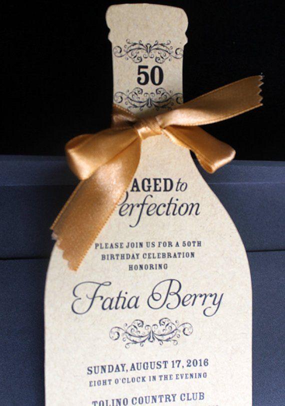 Wine Bottle Invitation | Wine Birthday Invitation | Wine Themed Invitation | 50th Birthday Invitation | Adult Birthday Invitation #moms50thbirthday