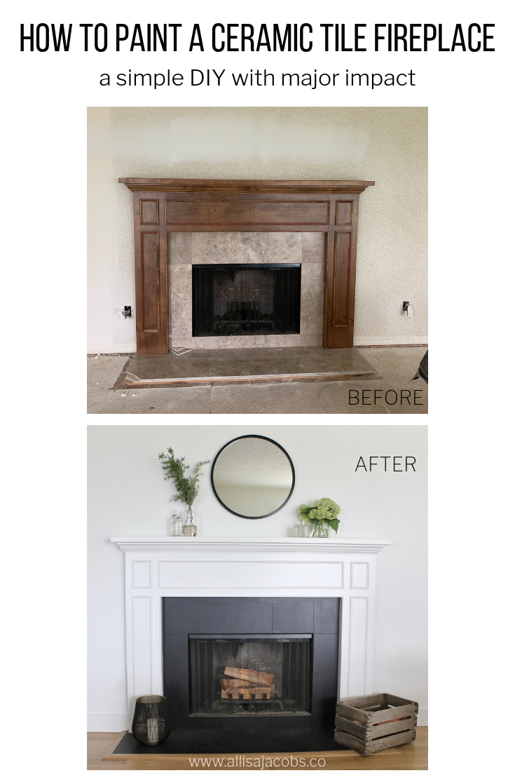 How to Paint a Ceramic Tile Fireplace for an Easy Update is part of Paint fireplace tile, Fireplace tile surround, Tile around fireplace, Paint fireplace, Fireplace tile, Brick fireplace - how to paint a ceramic tile fireplace, an easy DIY home project for a dramatic makeover and last results with heat resistant enamel paint