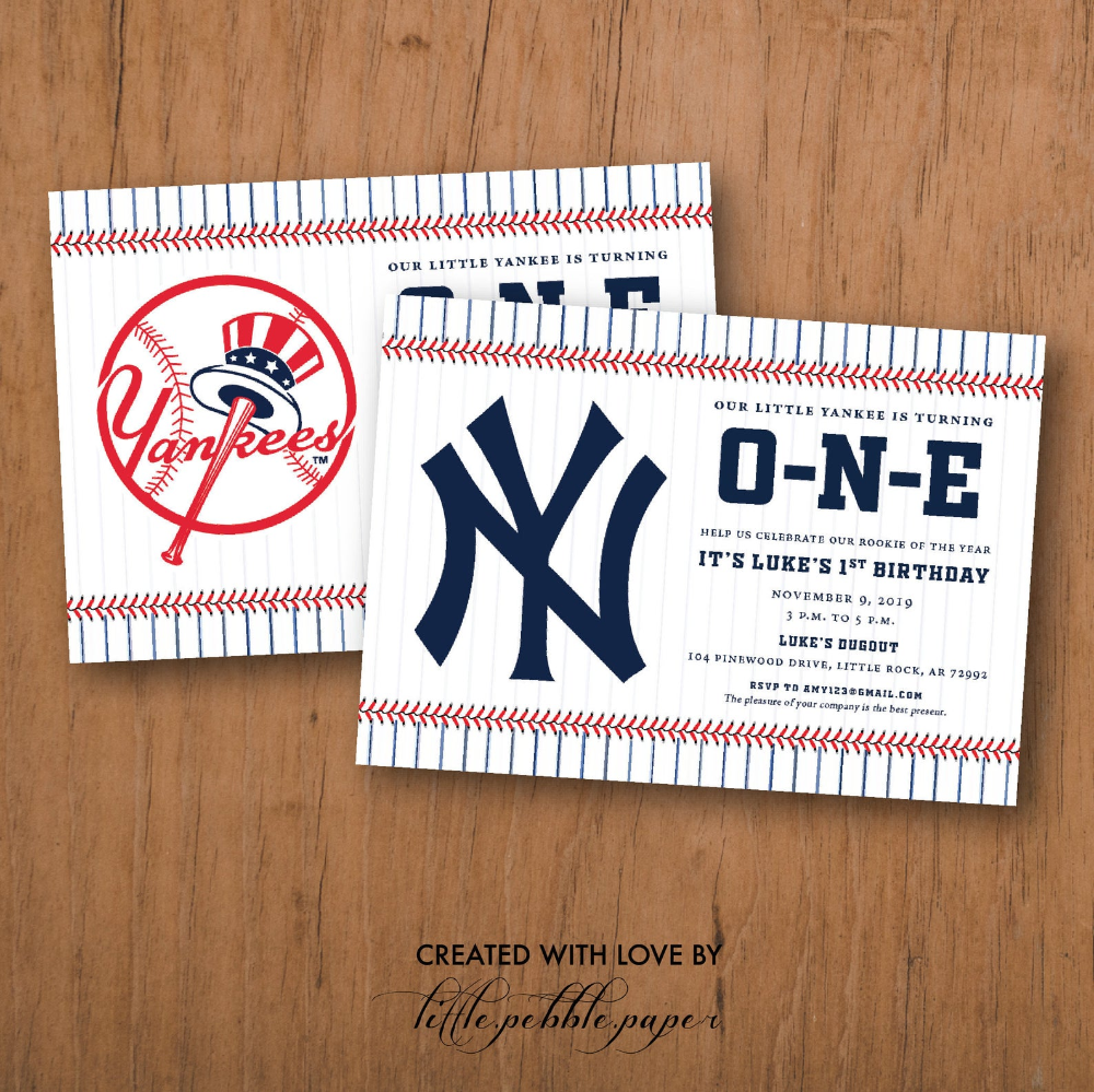 Yankees Birthday Invitation New York Yankees Invite Baseball Etsy In 2020 Yankees Birthday Yankees Birthday Party Brave Birthday Invitation