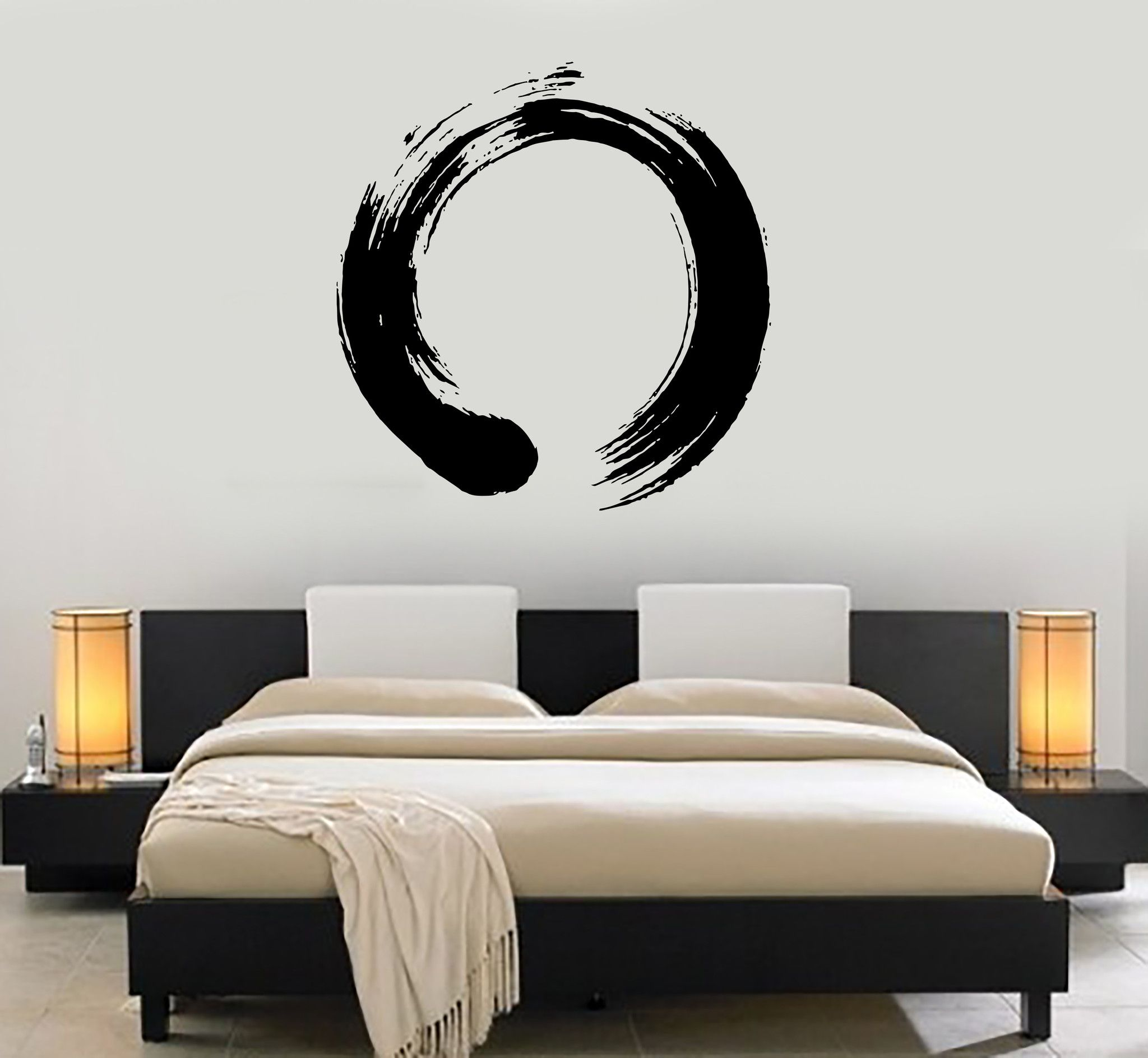 Decal Vinyl Wall Circle Enso Zen Calligraphy Japan Nirvana - Zen wall decalsvinyl wall decal yin yang yoga zen meditation bedroom decor