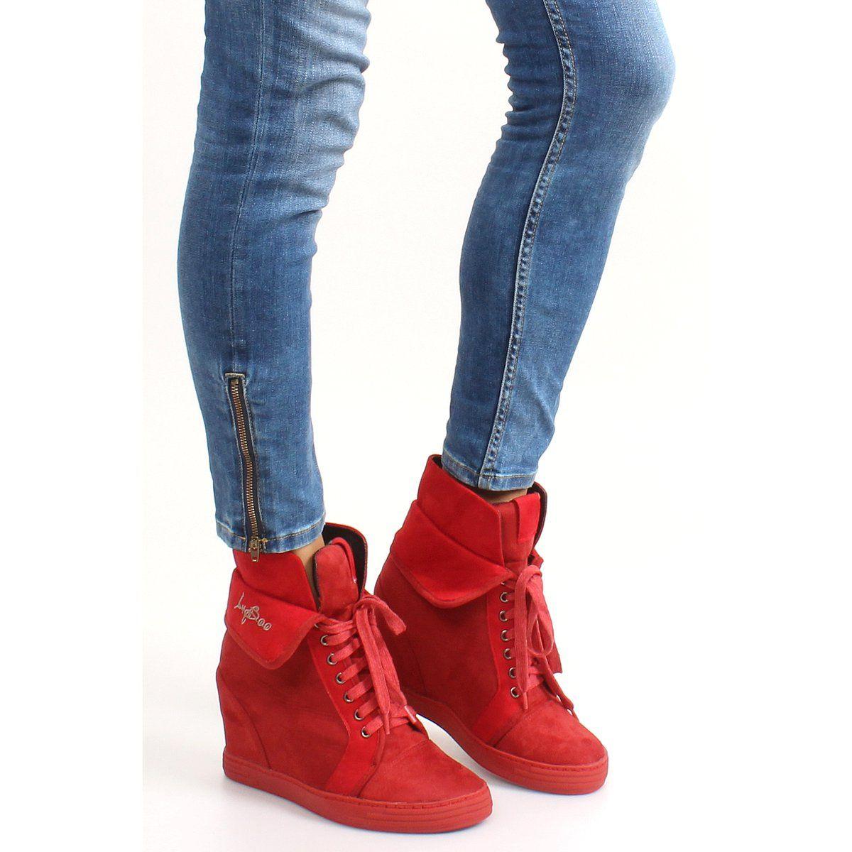 Sneakersy Zamszowe B12 22 Red Czerwone Wedge Sneaker Shoes Sneakers
