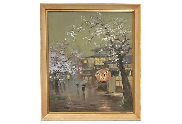 Spring Rain on a Japanese Village, unknown artist; curated by Horsefeathers Antiques