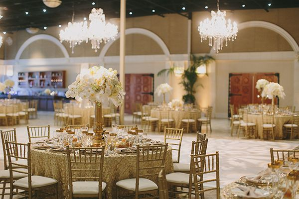 Glamorous Winery Reception with Chandeliers and Gold Decor | Jake and Necia Photography | Glamorous Gatsby Inspired White and Gold Wedding