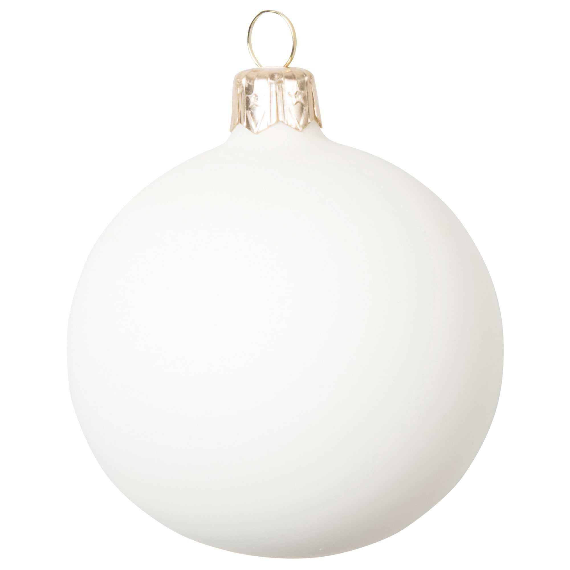 Boule de no l blanc mat en verre 7 cm vendu par 12 christmas time happy and chimney times - Boule de noel blanche ...